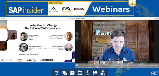 A webinar from SAPInsider featuring Avantra CEO John Appleby and others discussing the future of SAP.