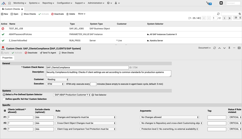 Custom Check - SAP Client Compliance