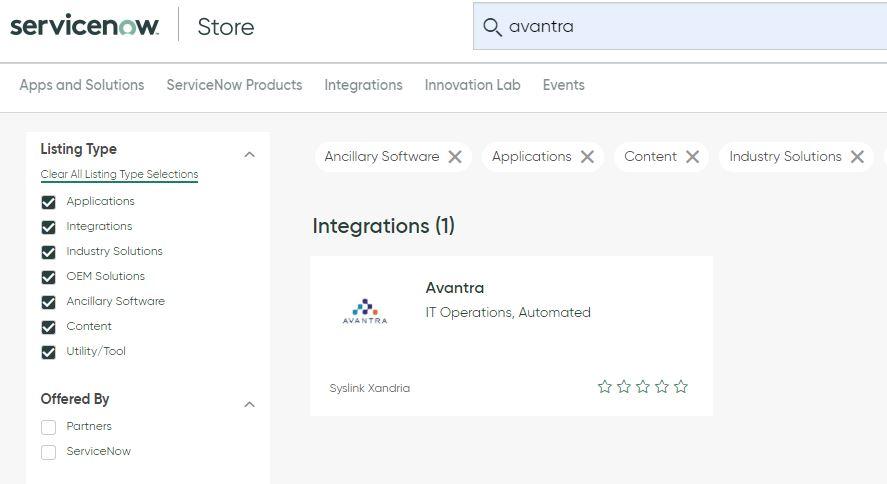 ServiceNow store | Avantra