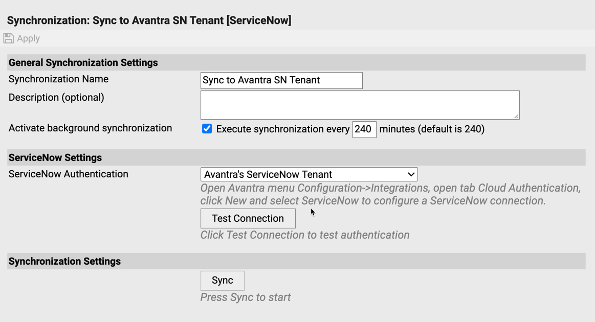 servicenow-outbound-sync-settings | Avantra