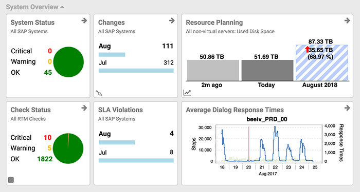 Avantra real-time report for system health and performance