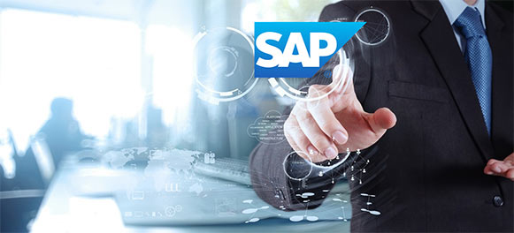 A man in a suit touching the screen and creating ripples with the word SAP appearing in large letters.